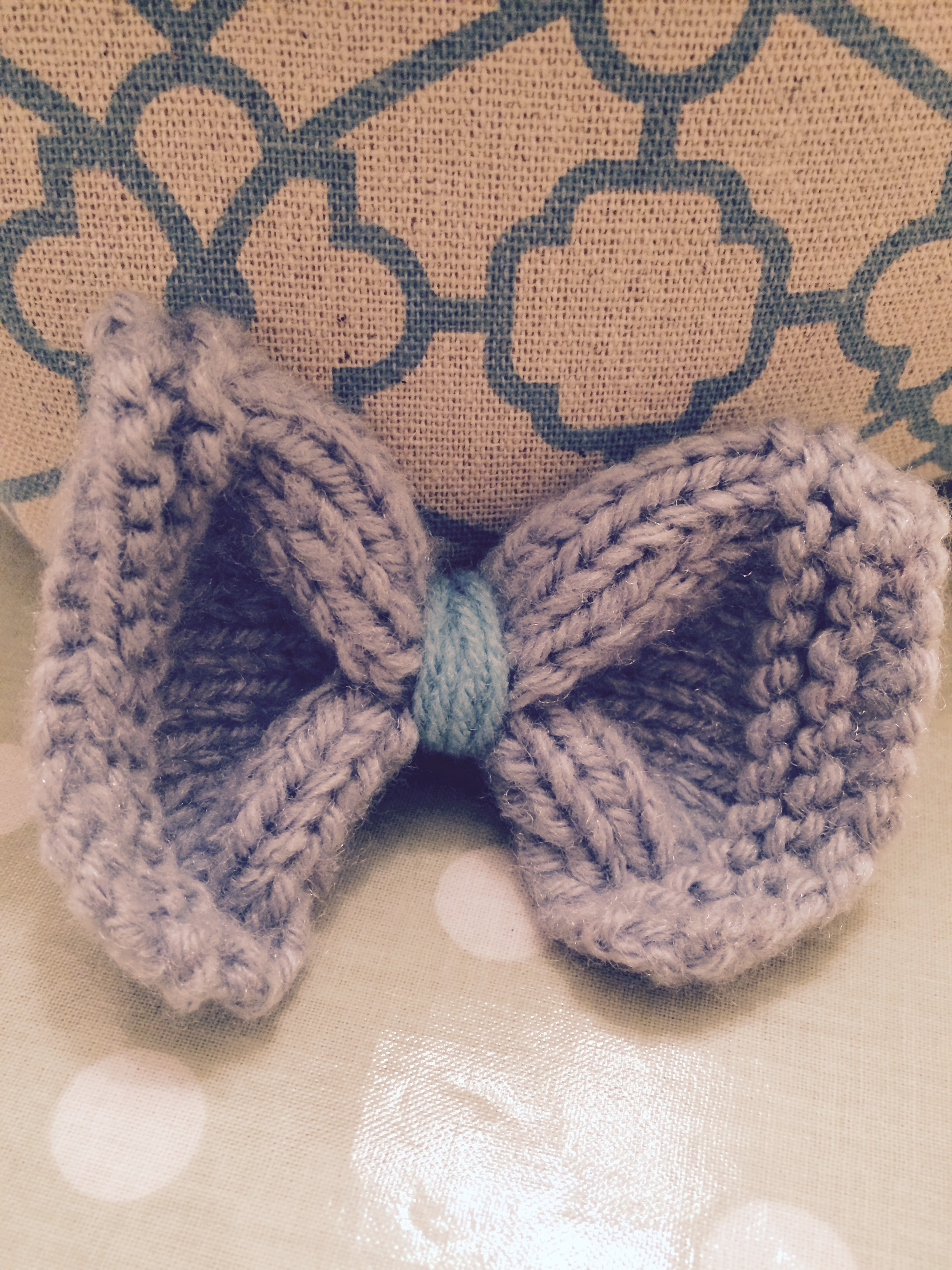 Grey and Light Blue Knitted Hair Bow – Tangerine Panda